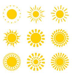 set of yellow sun icon symbols isolated on white vector image