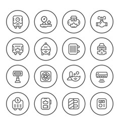Set round line icons of heating vector