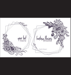 set two black and white floral frames vector image