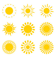 set yellow sun icon symbols isolated on white vector image