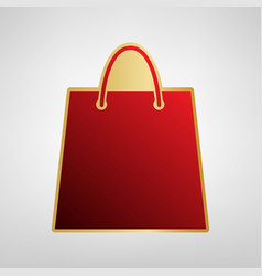 shopping bag red icon on vector image