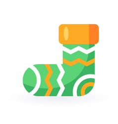 simple christmas sock in flat style vector image