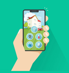smart home on phone flat vector image