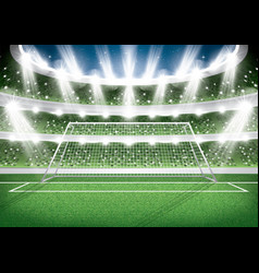 Soccer stadium goal post football arena vector
