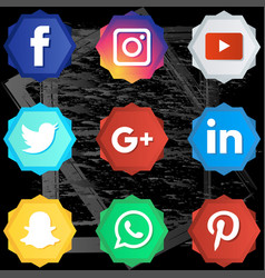 social media icon full color set vector image