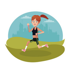 sport girl running urban background vector image