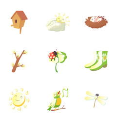 Spring icons set cartoon style vector