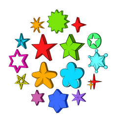 star icons set pop-art style vector image