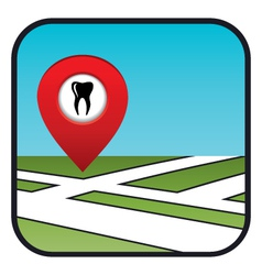 Street map icon with the pointer dental services vector image