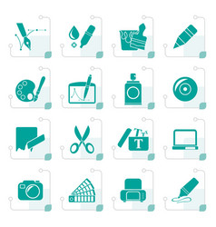 Stylized graphic and web design icons vector