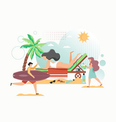 summer time flat style design vector image