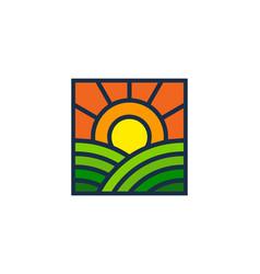 Sunrise farm logo icon design vector