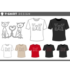 t shirt with cats couple vector image