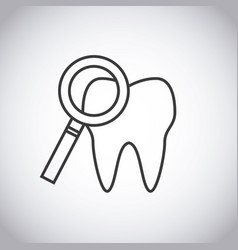 tooth and magnifying glass icon vector image