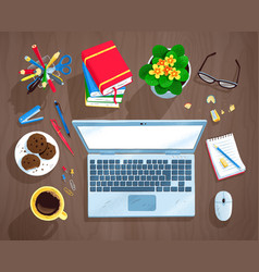 top view set office workplace vector image