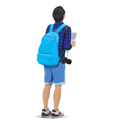Tourist with a backpack vector