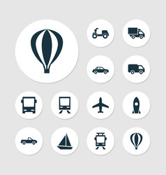 Transportation icons set collection of streetcar vector
