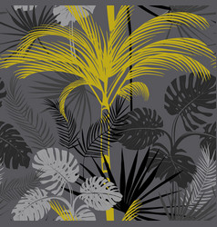 tropical pattern with gray background and palm vector image