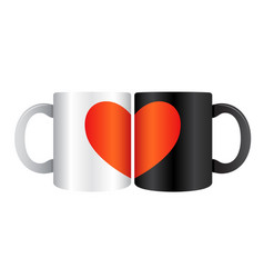 two mugs close together forming heart picture vector image