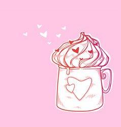 valentines day cute cup of hot chocolate vector image