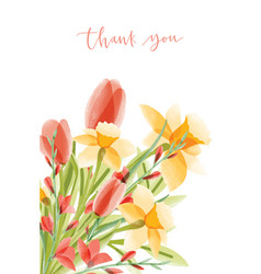 vertical card template with lettering and bouquet vector image