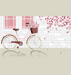 Vintage bicycle parking beside wall vector