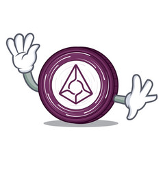waving augur coin character cartoon vector image