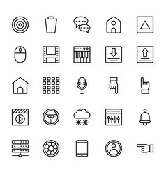 Web and mobile ui line icons 2 vector