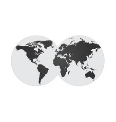 with two hemispheres globe world map on two vector image