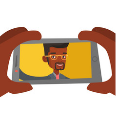Young man making selfie vector