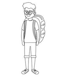young tourist man cartoon vector image