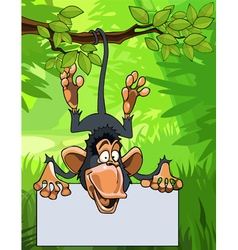 cartoon monkey hanging on a branch with a blank vector image