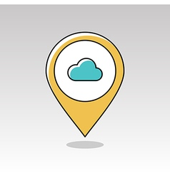 Cloud pin map icon meteorology weather vector