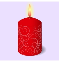 Isolated burning candle with ornament on blue vector image vector image