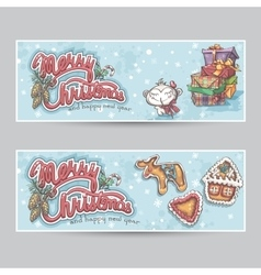 Merry Christmas greeting card horizontal banners vector image