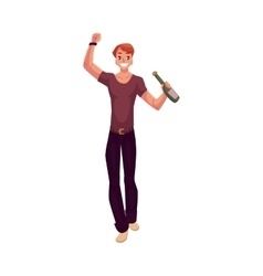 Young man dancing with beer bottle at party night vector image