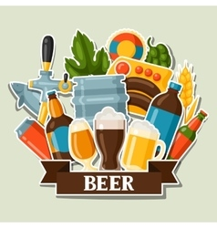 Background design with beer stickers and objects vector image vector image