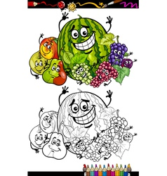 cartoon fruits group for coloring book vector image vector image