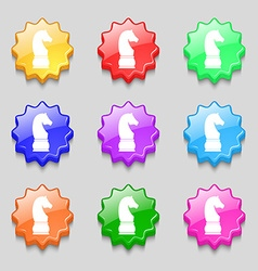 Chess knight icon sign symbol on nine wavy vector image vector image
