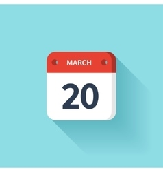 March 20 isometric calendar icon with shadow vector