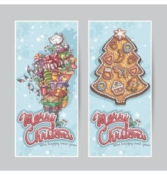 Merry Christmas greeting card vertical banners vector image vector image