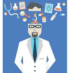 Picture of male doctor with medicine symbols vector image
