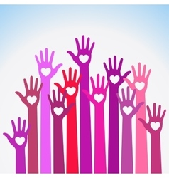Red violet caring up Volunteers hands hearts icon vector image vector image