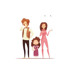 sick mother with flu cartoon vector image vector image