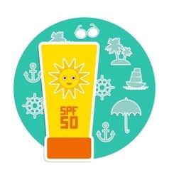 Sunscreen SPF 50 Set of summer vacation beach vector image