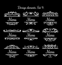 swirl menu text labels flourish vintage vector image