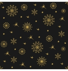Winter gold background with snowflakes vector image