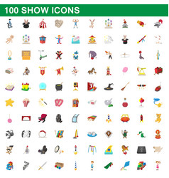 100 show icons set cartoon style vector image vector image