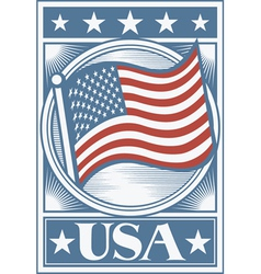 American Flag Poster vector image vector image