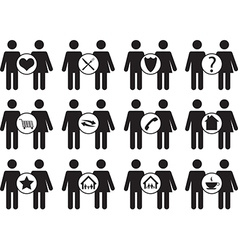 Couple people icons vector